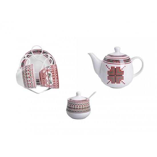 Комплект чаши за кафе и чай Шевица с поставка, 5 части
