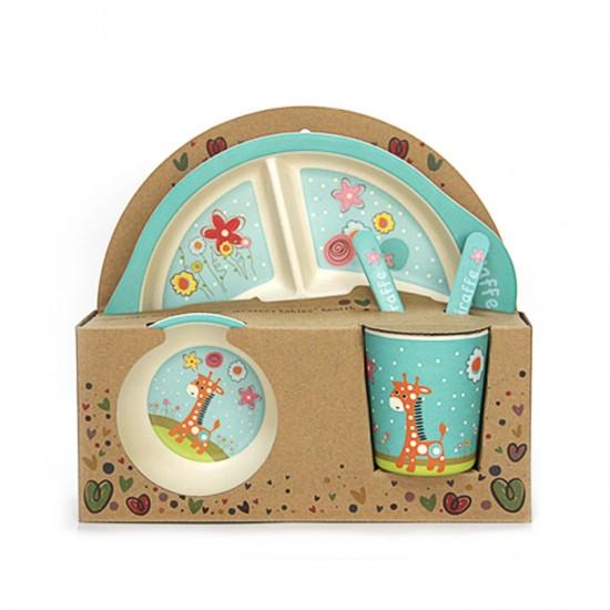 Детски сервиз за хранене ЖИРАФ, 5 части, с кръгла трисекционна чиния