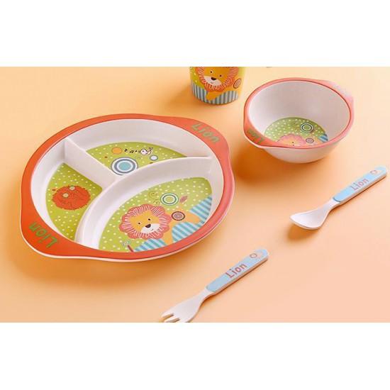 Детски сервиз за хранене ЛЪВЧЕ, 5 части, с кръгла трисекционна чиния