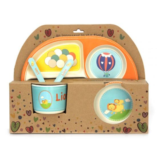 Детски сервиз за хранене ЛЪВЧЕ, 5 части, с обла четирисекционна чиния