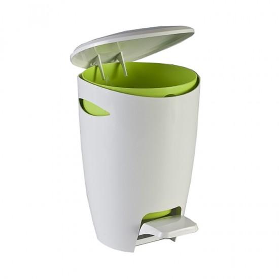 Кош за отпадъци FELY с педал в бяло и зелено, PRIMANOVA Турция