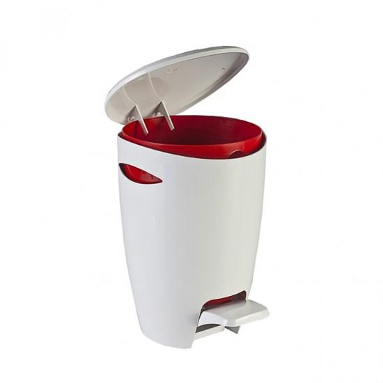 Кош за отпадъци FELY с педал в бяло и червено, PRIMANOVA Турция