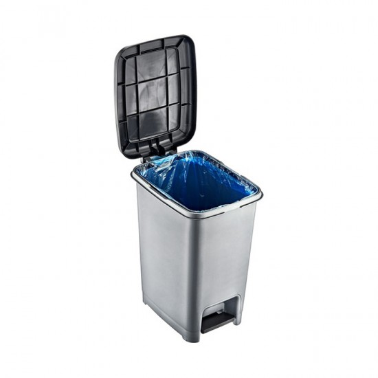 Кош за отпадъци SLIM с педал, 15 литра, сив, DUNYA Турция