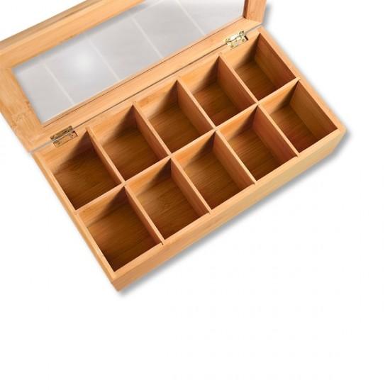 Бамбукова кутия за чай с 10 отделения, KESPER Германия