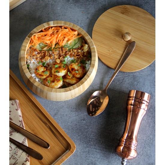 Бамбукова купа с капак, 17 см