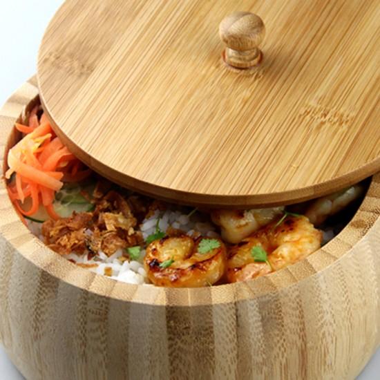 Бамбукова купа с капак, 23 см