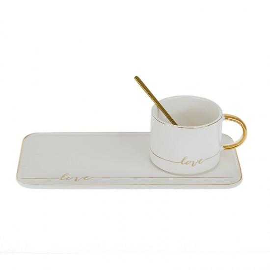 Керамична чаша за кафе Любов с лъжичка и чинийка