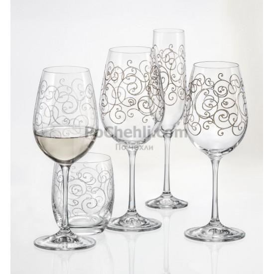 Гравирани чаши за вино Viola 350 мл, CRYSTALEX BOHEMIA, Чехия