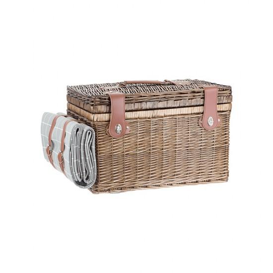Кошница за пикник за четирима с одеало, правоъгълна