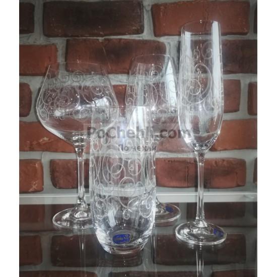 Гравирани чаши за шампанско Viola 190 мл, CRYSTALEX BOHEMIA, Чехия