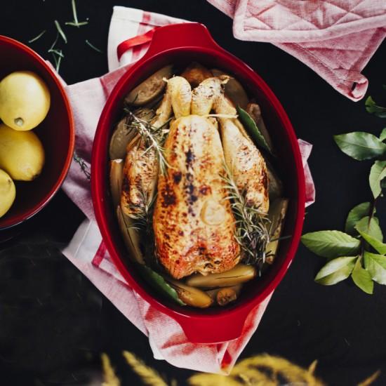Керамичен съд за печене на пиле 35 см, Emile Henry Франция