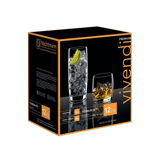 Комплект чаши VIVENDI, 12 броя, 315 мл. и 413 мл., NACHTMANN Германия