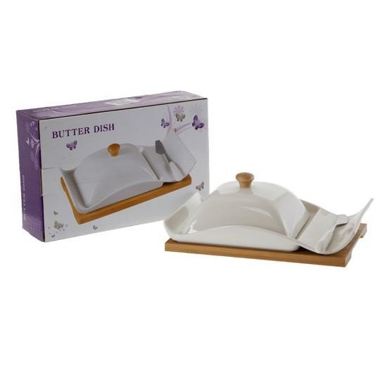 Керамична кутия за масло на бамбукова поставка + ножче