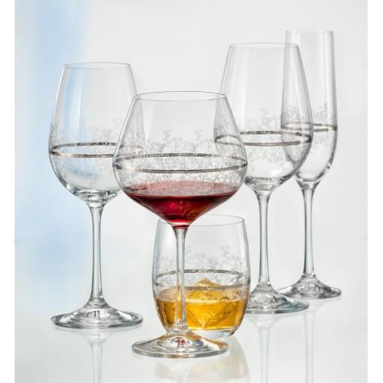 Гравирани чаши за червено вино Viola Platinum 570 мл, CRYSTALEX BOHEMIA, Чехия
