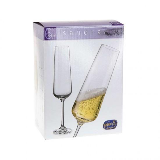 Гравирани чаши за шампанско SANDRA, 200 мл., 6 броя, BOHEMIA