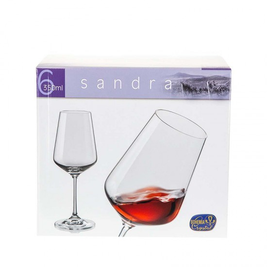 Гравирани чаши за бяло вино SANDRA, 350 мл., 6 броя, BOHEMIA