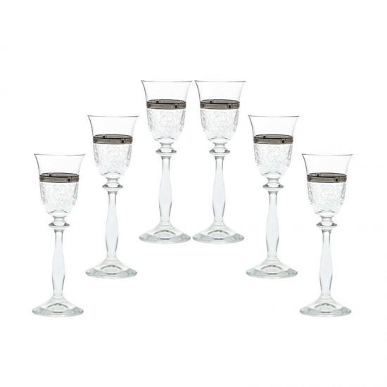 Гравирани чаши за ракия ANGELA Platinum, 60 мл., 6 броя, BOHEMIA