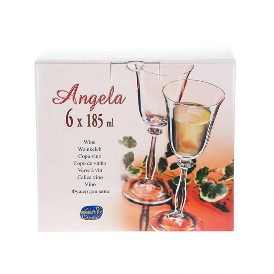 Гравирани чаши за бяло вино ANGELA Platinum, 185 мл., 6 броя, BOHEMIA
