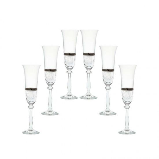 Гравирани чаши за шампанско ANGELA Platinum, 190 мл., 6 броя, BOHEMIA