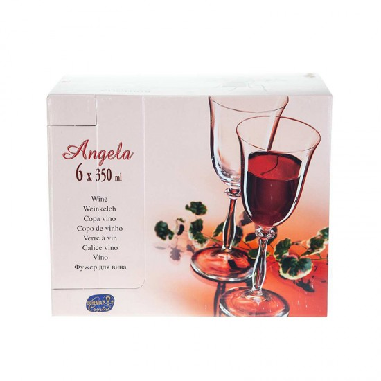 Гравирани чаши за червено вино ANGELA Platinum, 350 мл., 6 броя, BOHEMIA