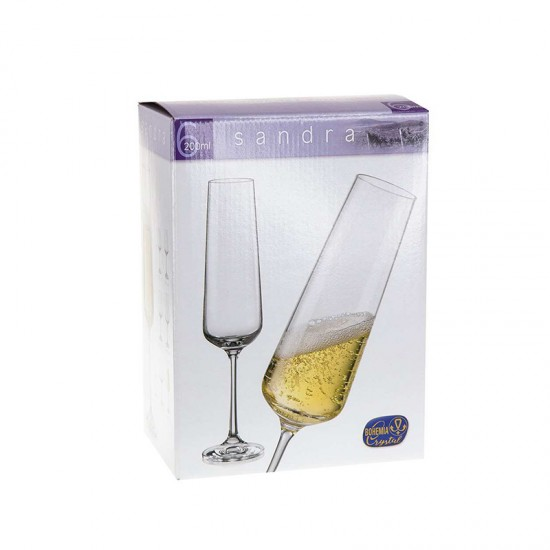 Бели чаши за шампанско SANDRA, 200 мл., 6 броя, BOHEMIA