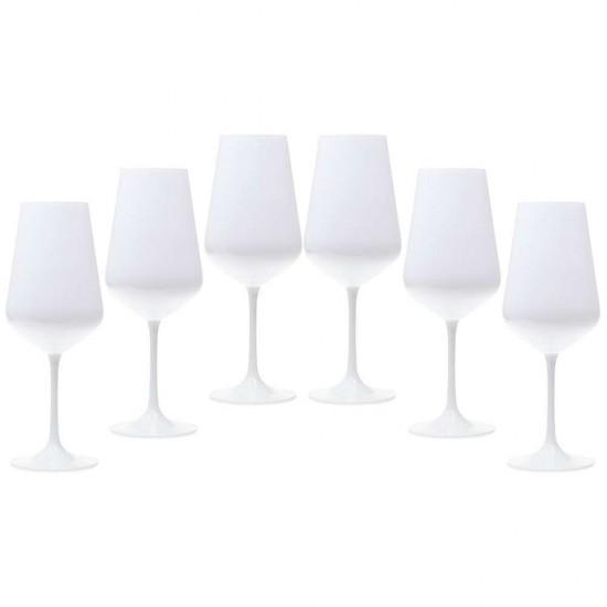 Бели чаши за червено вино SANDRA, 450 мл., 6 броя, BOHEMIA