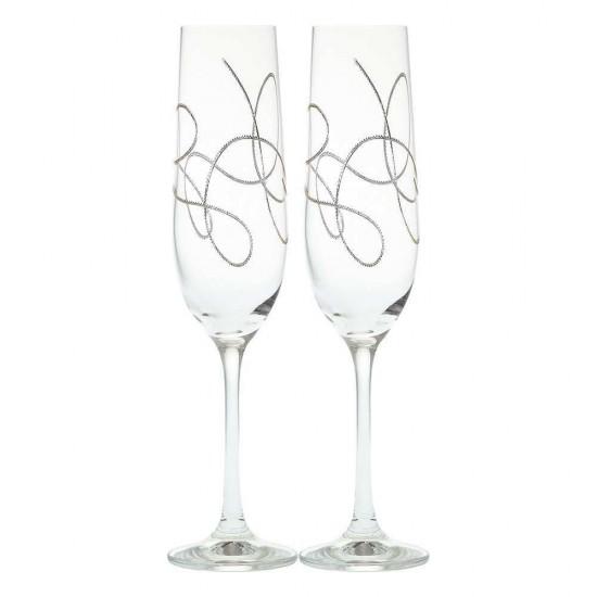 Гравирани чаши за шампанско STRING SILVER, 190 мл., 2 броя, BOHEMIA