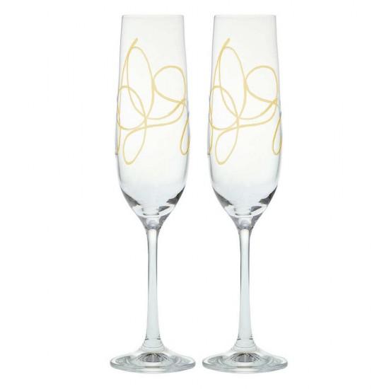 Гравирани чаши за шампанско STRING GOLD, 190 мл., 2 броя, BOHEMIA