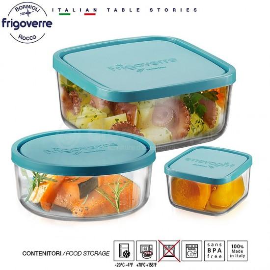Квадратна стъклена кутия за съхранение FRIGOVERRE, 345 мл., BORMIOLI ROCCO Италия