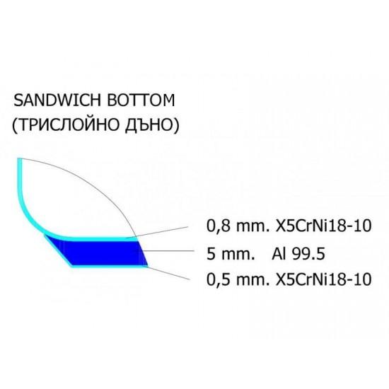 Касерола от благородна стомана, трислойно дъно, 2 л, Ф 18 см, Хром АД