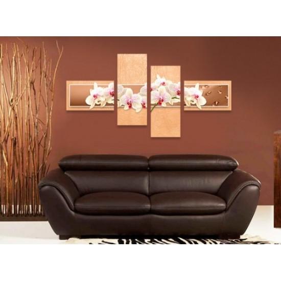 """Картина пано """"Орхидеи в цвят праскова"""", 160 * 80 см"""