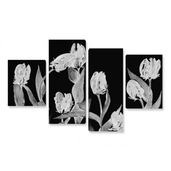 """Картина пано """"Лалета в черно и сиво"""", 120 * 70 см"""