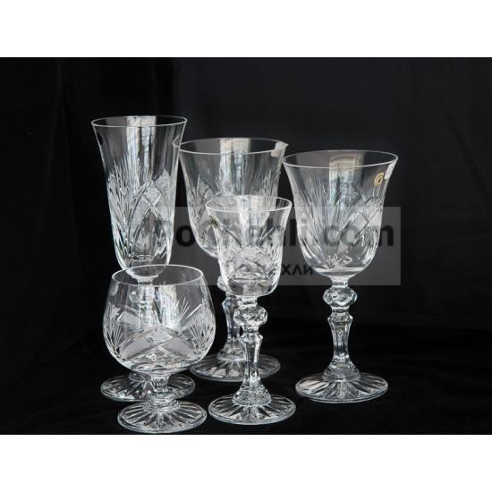 Кристални чаши на столче за ракия и аперитив Зорница, Zawiercie Crystal, Полша