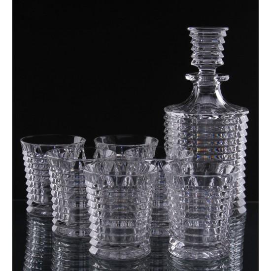 Кристален комплект за уиски Blade, 7 части, Crystal Bohemia