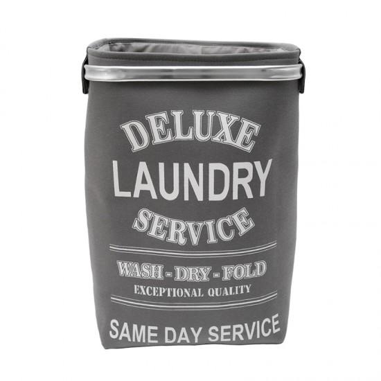 Текстилен кош за пране, сив, квадратен