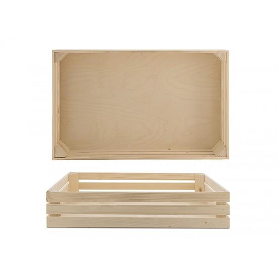 Дървена поставка тип щайга, 52 * 32 см, натурал, Bisetti Италия
