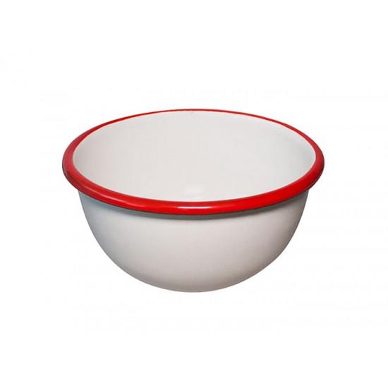 Емайлирана купичка Ретро, 12 см, крем/червено, Horecano