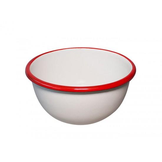 Емайлирана купичка Ретро, 14 см, крем/червено, Horecano