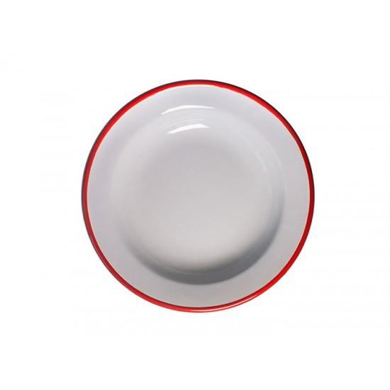 Дълбока емайлирана чиния Ретро, 22 см, крем/червено, Horecano