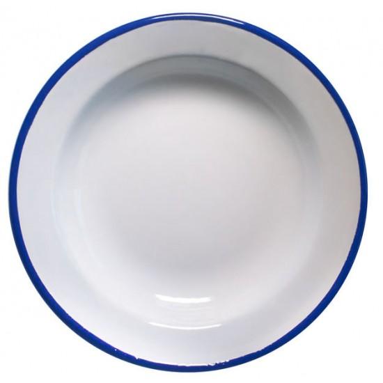Дълбока емайлирана чиния Ретро, 22 см, бяло и синьо, Horecano