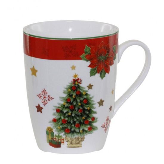 Коледна чаша за топли напитки Елха, порцелан, 400 мл