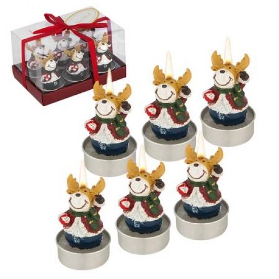 Коледни свещи Еленчета, 6 бр. в комплект