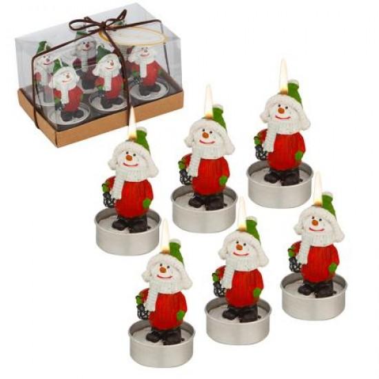 Коледни свещи Снежковци, 6 бр. в комплект