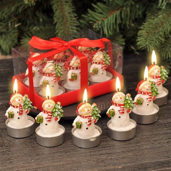 Коледни свещи Снежни човеци, 6 бр. в комплект
