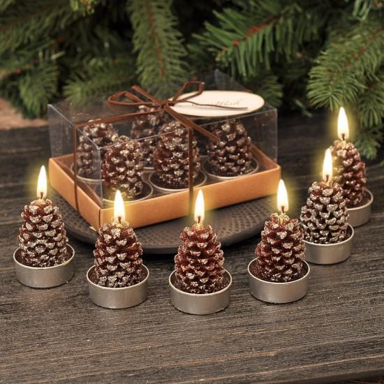 Коледни свещи Шишарки, 6 бр. в комплект