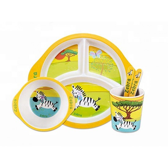 Детски сервиз за хранене ЗЕБРА, 5 части, с кръгла трисекционна чиния