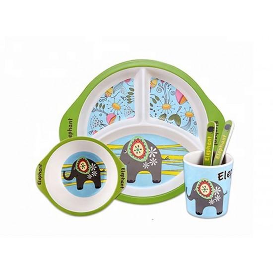 Детски сервиз за хранене СЛОНЧЕ, 5 части, с кръгла трисекционна чиния