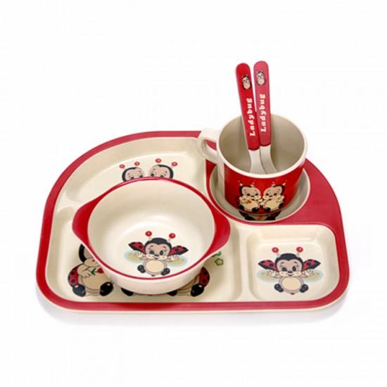 Детски сервиз за хранене КАЛИНКА, 5 части, с обла четирисекционна чиния