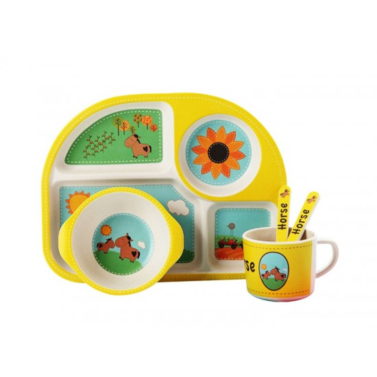 Детски сервиз за хранене КОНЧЕ, 5 части, с обла четирисекционна чиния