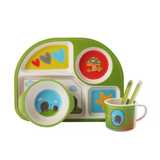 Детски сервиз за хранене СЛОНЧЕ, 5 части, с обла четирисекционна чиния